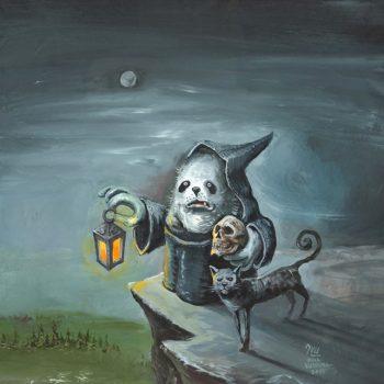 Kaapuveikko maalaus. Kaapuveikko seisoo lyhty ja pääkallo kädessään vuoren kielekkeellä. Kissa seisoo kaapuveikon vierellä.
