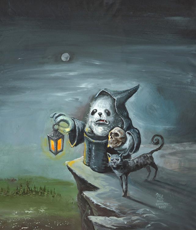 Kaapuveikko maalaus. Kaapuveikko seisoo lyhty ja pääkallo kädessään vuoren kielekkeellä.