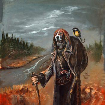 Juha Vuorman Vanha revolverimies -maalaus. Revolverimies seisoo trenssitakissa joen varrella. Päässä ajokoirahattu ja olkapäällä talitiainen.