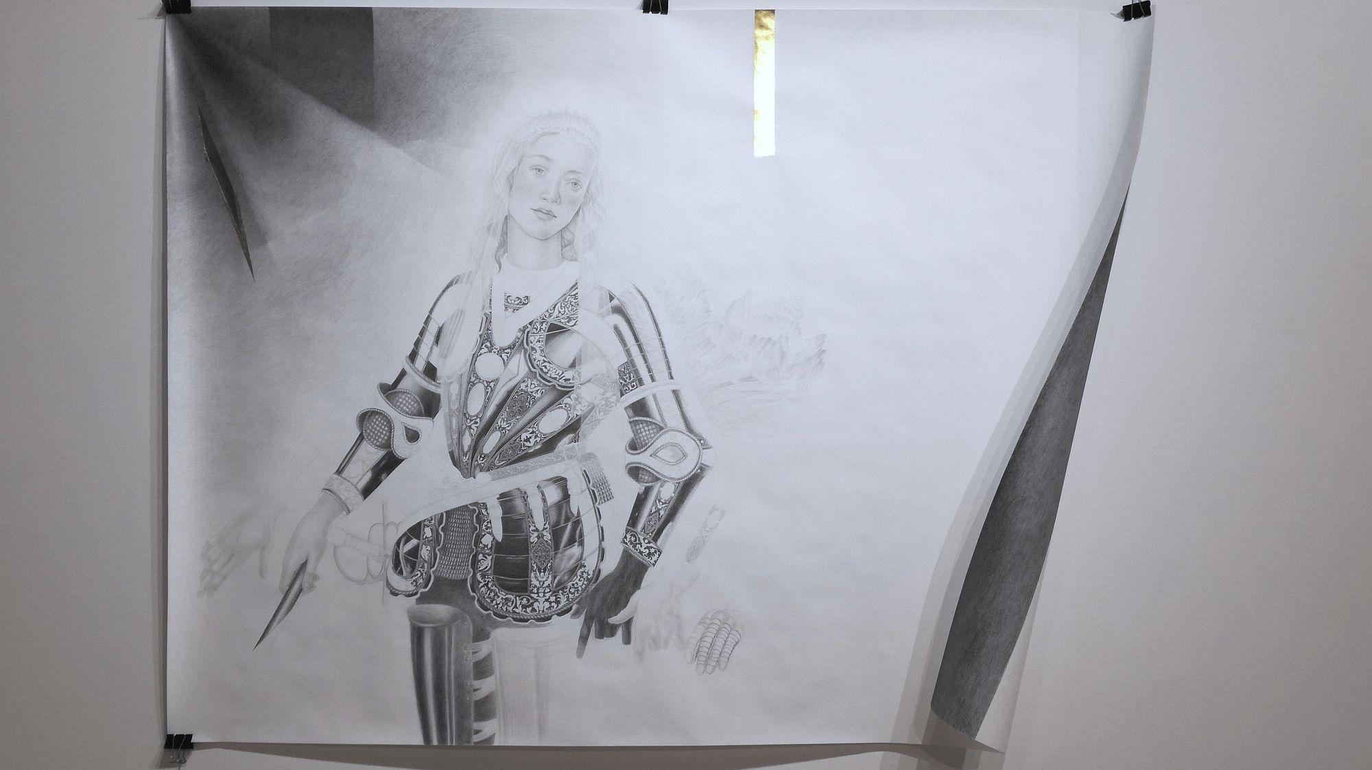 """""""Madonna"""", lyijykynä, värikynä ja kulta paperille, 200 x 150 cm, 2018."""